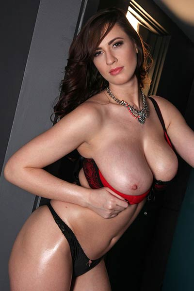 Model Lana Kendrick in Red And Black Lace Bra